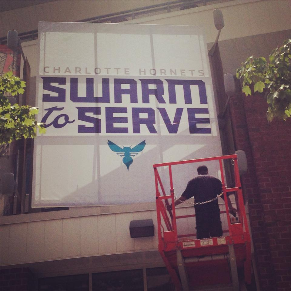 Hornets posters have begun to be put up near Charlotte's basketball stadium. photo via Hornets facebook.
