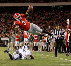 Todd Gurley dives for the pylon Photo via: ajc.com
