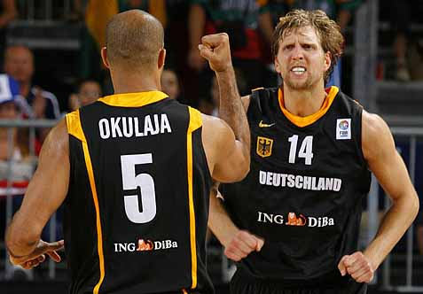 Dirk Nowitzki, a German national and future Hall of Famer, playing for his home country. Photo via sportige.com