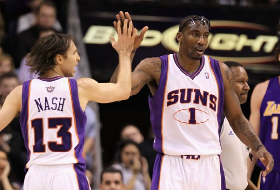 The offensive dynamic duo of Steve Nash and Amare Stoudemire was nearly unstoppable as Phoenix ravaged the NBA. Photo via www.zimbio.com