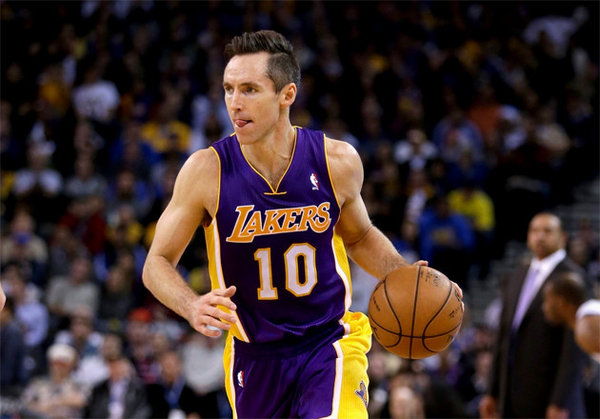 Nash joined the Los Angeles Lakers in 2012, a year that many perceived would be both Nash's and Kobe's last title run. They would enter the playoffs as the 7th seed and were swept in the first round. Photo via therunnersports.com