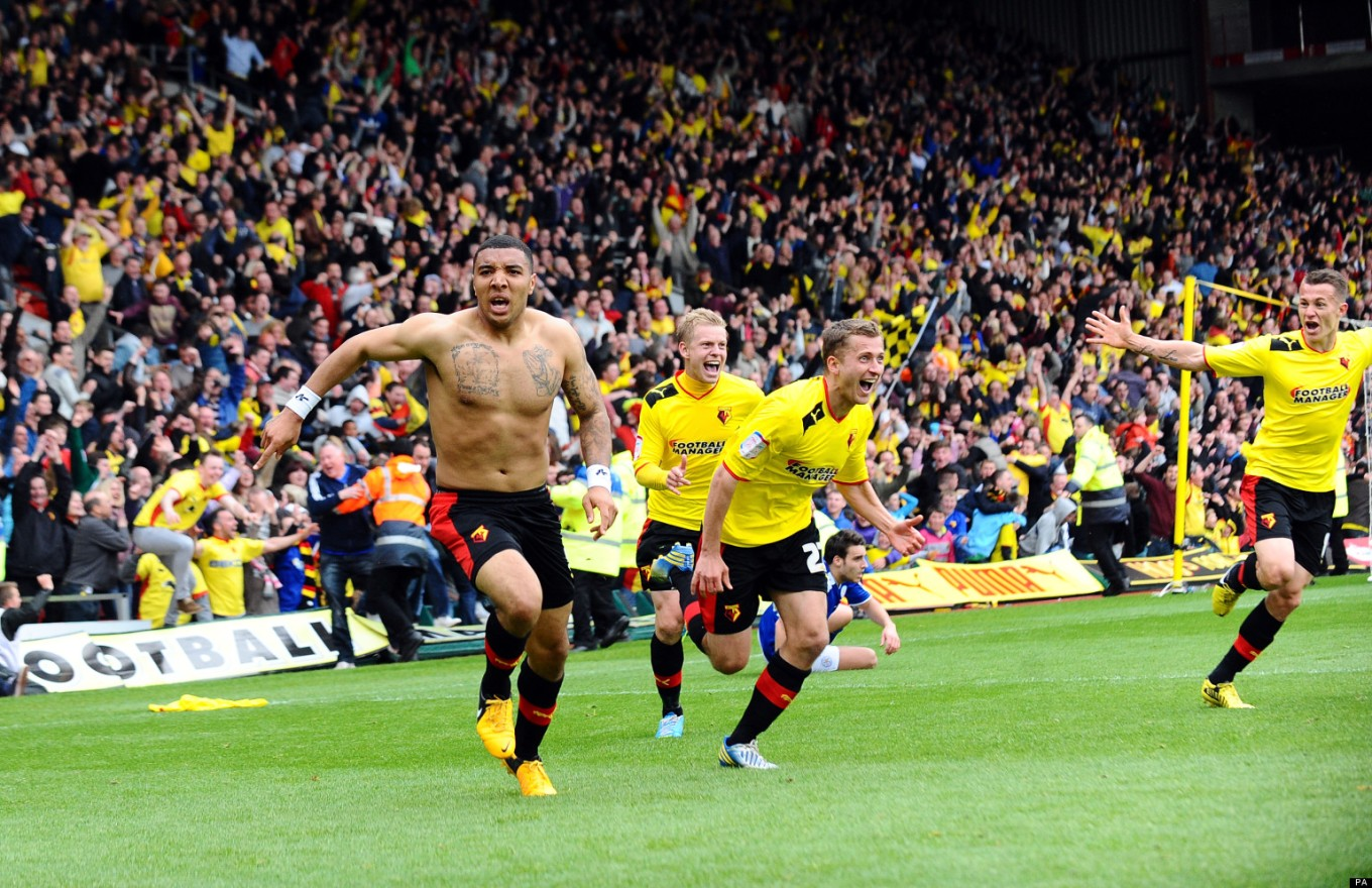 Watford's Troy Deeney scores the winning goal during the npower Football League Championship match at Vicarage Road. Photo via Huffington Post.