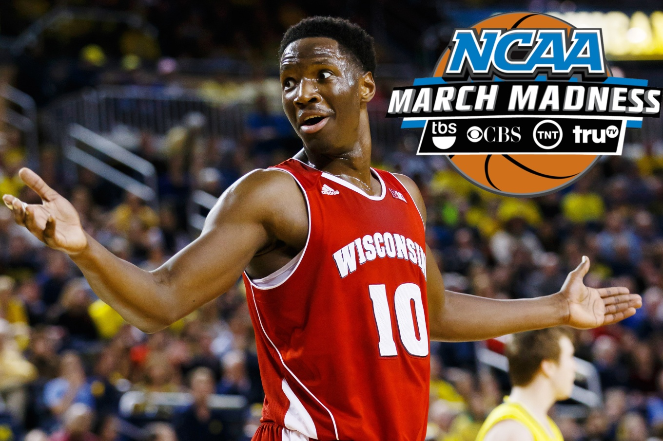 Jan 24, 2015; Ann Arbor, MI, USA; Wisconsin Badgers forward Nigel Hayes (10) reacts to a foul call in the first half against the Michigan Wolverines at Crisler Center. Mandatory Credit: Rick Osentoski-USA TODAY Sports